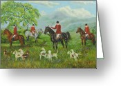 Hunting Dogs Greeting Cards - On The Hunt Greeting Card by Charlotte Blanchard