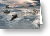 Dolphin Digital Art Greeting Cards - On the hunt Greeting Card by Claude McCoy