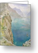 Cliff Painting Greeting Cards - On the Italian Coast Greeting Card by Harry Goodwin