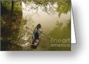 Row Boat Mixed Media Greeting Cards - On the Lake Greeting Card by Louise Fahy