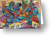 Diversity Greeting Cards - On The Main Stage Greeting Card by Larry Poncho Brown