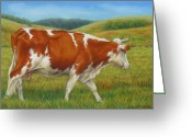 Mammals Pastels Greeting Cards - On The Moove Greeting Card by Margaret Stockdale