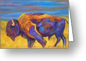 The American Buffalo Painting Greeting Cards - On the Move Greeting Card by Andrea Folts
