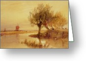Windmill And Tree Greeting Cards - On the Norfolk Broads Greeting Card by Edward Duncan