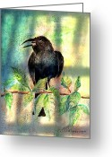 Black Bird Greeting Cards - On The Outside Looking In Greeting Card by Arline Wagner