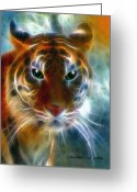 Fantasy Pyrography Greeting Cards - On The Prowl Greeting Card by Madeline M Allen
