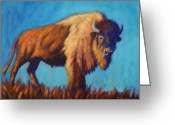 Bison Greeting Cards - On the Range Greeting Card by Theresa Paden
