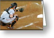 Baseball Game Greeting Cards - On the Ready Greeting Card by Diane Wood