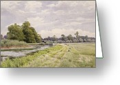 Great Painting Greeting Cards - On the River Ouse Hemingford Grey Greeting Card by William Fraser Garden