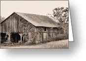 White Barns Greeting Cards - On the Road To Flint Hills Greeting Card by JC Findley