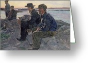 Anglers Greeting Cards - On the Rocks at Fiskebackskil Greeting Card by Carl Wilhelm Wilhelmson