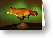 Animal Sculpture Sculpture Greeting Cards - On the run Greeting Card by Monte Burzynski