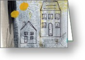 Circles Mixed Media Greeting Cards - On The Same Street Greeting Card by Linda Woods