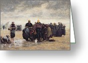 Fishermen Greeting Cards - On the Shore Greeting Card by Jacques Eugene Feyen