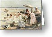 Shores Painting Greeting Cards - On the Shores of Bognor Regis Greeting Card by Alexander M Rossi