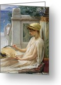 Orientalist Greeting Cards - On the Terrace Greeting Card by Sir Edward John Poynter