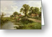 Cattle Greeting Cards - On the Thames near Marlow Greeting Card by On the Thames near Marlow