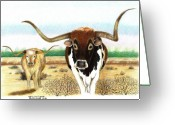 Livestock Drawings Greeting Cards - On the trail Greeting Card by Sharon Blanchard