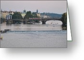 Karluv Most Greeting Cards - On the Vlitava River Greeting Card by Nimmi Solomon