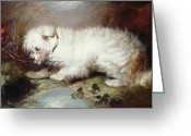 Watch Dog Greeting Cards - On the Watch Greeting Card by George Armfield