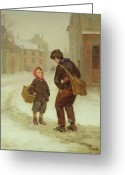 Lads Greeting Cards - On the way to school in the snow Greeting Card by Pierre Edouard Frere