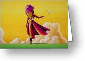 Illustrative Greeting Cards - On The Wings Of A Dove Greeting Card by Cindy Thornton