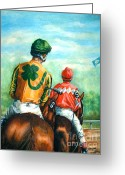Jockeys Greeting Cards - On to the Track Greeting Card by Thomas Allen Pauly