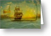 Sails Digital Art Greeting Cards - Once In a Bottle Greeting Card by Jeff Burgess