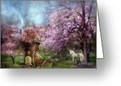 Unicorn Art Greeting Cards - Once Upon A Springtime Greeting Card by Carol Cavalaris