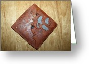 Uganda Pottery Greeting Cards - One - tile Greeting Card by Gloria Ssali