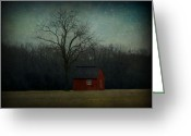 Sharon Obrien-huey Greeting Cards - One Bird Tree Barn Greeting Card by Sharon OBrien-Huey