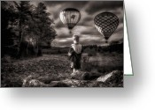 Hot Air Balloon Photo Greeting Cards - One Boys Dream Greeting Card by Bob Orsillo