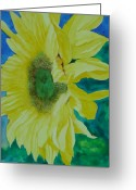 Sunflower Studio Art Greeting Cards - One Bright Sunflower Colorful Original Art Greeting Card by K Joann Russell