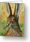 Hare Greeting Cards - One daisy for you - funny rabbits Greeting Card by Svetlana Ledneva-Schukina