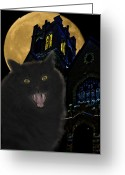 Glowing Moon Greeting Cards - One Dark Halloween Night Greeting Card by Shane Bechler