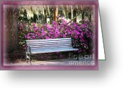 Park Benches Greeting Cards - One Day in Savannah Greeting Card by Carol Groenen