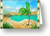 Palmtrees Mixed Media Greeting Cards - One Day Greeting Card by Tiki Tommy