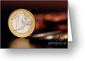 Nasdaq Greeting Cards - One Euro coin Greeting Card by Soultana Koleska