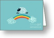 Baby Room Digital Art Greeting Cards - One Happy Cloud Greeting Card by Budi Satria Kwan
