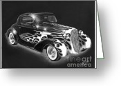 Hot Rod Drawings Greeting Cards - One Hot 1936 Chevrolet Coupe Greeting Card by Peter Piatt