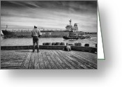 Ship Greeting Cards - One Last Look Greeting Card by Bob Orsillo