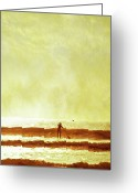 One Person Photo Greeting Cards - One Man And His Gull Greeting Card by s0ulsurfing - Jason Swain