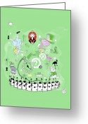 Mad Hatter Digital Art Greeting Cards - One Might Wonder  Greeting Card by Vava Fuller-quinn
