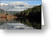 Peak One Greeting Cards - One Mile Lake reflection Pemberton Greeting Card by Pierre Leclerc
