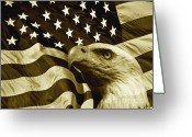 Eagle Prints Greeting Cards - One Nation  Greeting Card by Stefan Kuhn