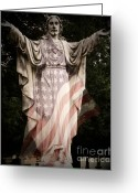Pledge Of Allegiance Greeting Cards - One Nation Under God Greeting Card by Charleen Treasures
