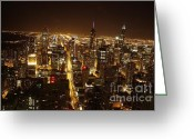 Light Pyrography Greeting Cards - One night in Chicago Greeting Card by Xiaoting Kuang