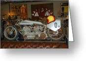 Antique Pyrography Greeting Cards - One of a Kind Motorcycle  Greeting Card by Monica Lewis