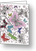 Insects And Butterflies Mixed Media Greeting Cards - One of These Things is Not Like the Other Greeting Card by Paula Dickerhoff