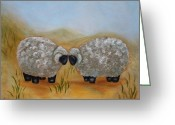 Precious Painting Greeting Cards - One Sheep  Two Sheep Greeting Card by Kathy Lynn Goldbach